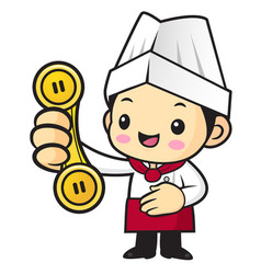 cartoon cook character please call me isolated on vector image