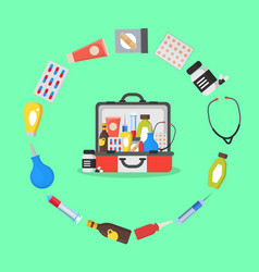 first aid kit box or suitcase and element concept vector image vector image