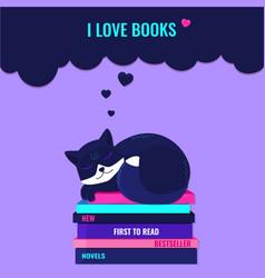 I love books reading books concept vector
