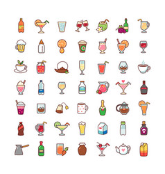 icons drinks vector image vector image