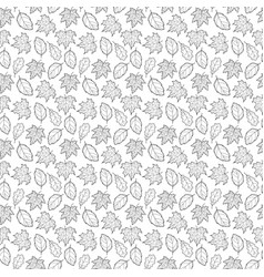 leaves seamless black and white big vector image vector image