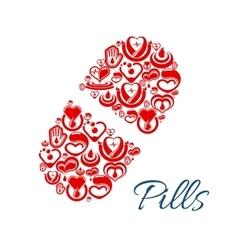 Pill icon of heart health care symbols vector image vector image