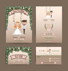 Rustic wedding cartoon bride and groom couple vector image