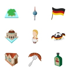 Travel to Germany icons set cartoon style vector image