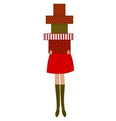 woman holding christmas presents vector image