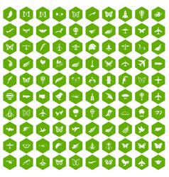 100 fly icons hexagon green vector