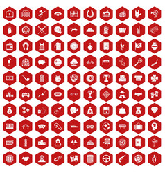 100 gambling icons hexagon red vector