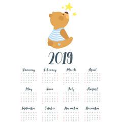2019 cute teddy bear calendar vector