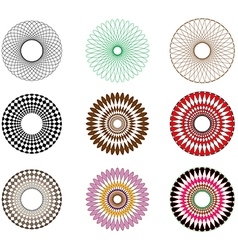 A set of spirograph spirals vector