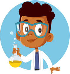 African student boy taking a science chemistry vector