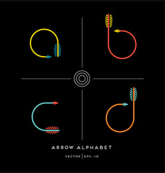 archery arrow letter set a b c d vector image