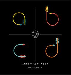 Archery arrow letter set a b c d vector