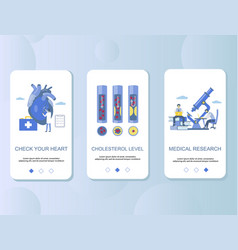 atherosclerosis mobile app onboarding screens vector image