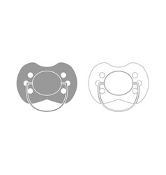 Baby pacifier the grey set icon vector
