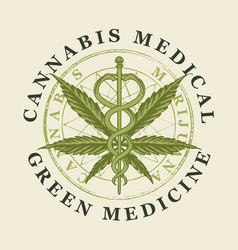 Banner for medical cannabis green medicine vector