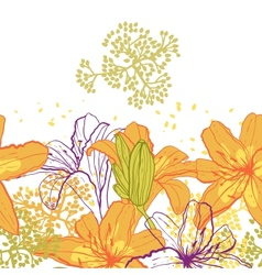 Beautiful seamless pattern with lilies vector image