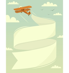 Biplane with banner vector