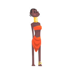 Black skinned woman aborigine with metal rings on vector