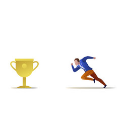 businessman running forward winner trophy cup vector image