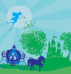 carriage with the princess goes to the magic vector image