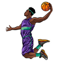 Cartoon basketball player is moving dribble with a vector