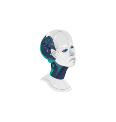 cartoon woman cyborg head icon vector image