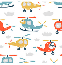childish seamless pattern with cute helicopter vector image