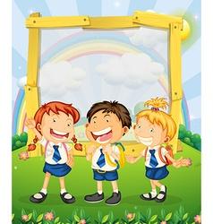 Children in school uniform standing on park vector