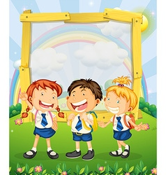 Children in school uniform standing on the park vector image