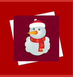 Chrismtas card with red background and snowman vector