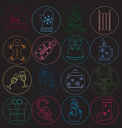 Christmas icons thin neon style Round button with vector image