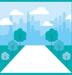 cityscape buildings park trees path vector image