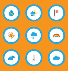 climate icons flat style set with sunny drip vector image