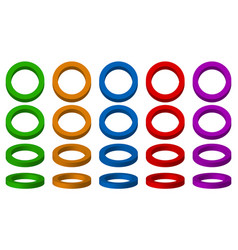 colorful spatial 3d circles with 4 angles and 5 vector image