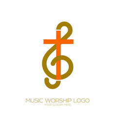 Combination of the treble clef and the cross vector