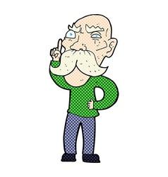 Comic cartoon annoyed old man vector