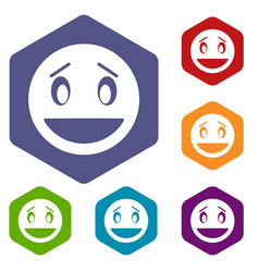 Confused emoticon icons set vector