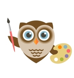 Cute owl artist holding brush and palette vector