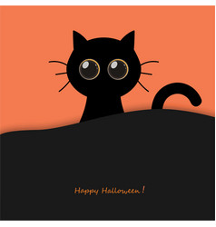 Cute round eyes halloween black cat vector