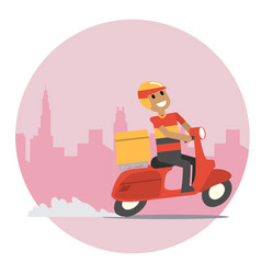 Delivery man with his scooter in rush hour vector
