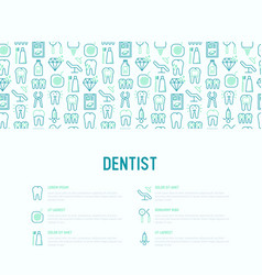 Dentist concept with thin line icons vector