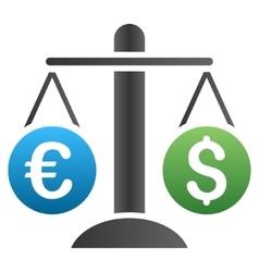 Dollar euro compare scales gradient icon vector