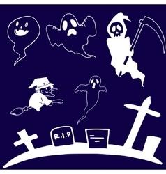 Doodle set ghost Halloween vector