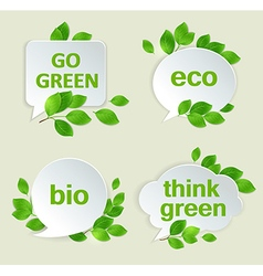 Eco labels with green leaves vector image