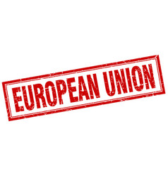 European union red square grunge stamp on white vector