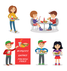 fast food restaurant people figures isolated on vector image