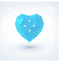 Flag of Micronesia in shape diamond glass heart vector image
