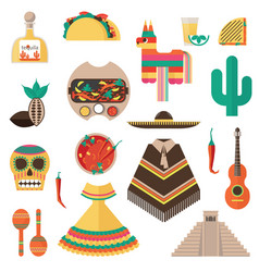 Flat set with mexican theme - tequila shot vector