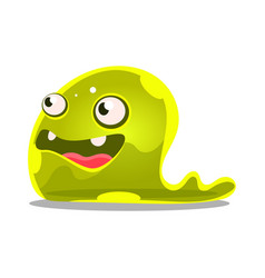 funny cartoon green slimy monster cute jelly vector image