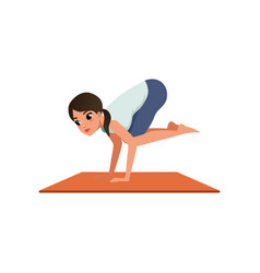 Girl standing in crane yoga position beautiful vector